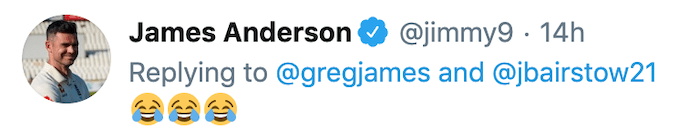 James Anderson tweet