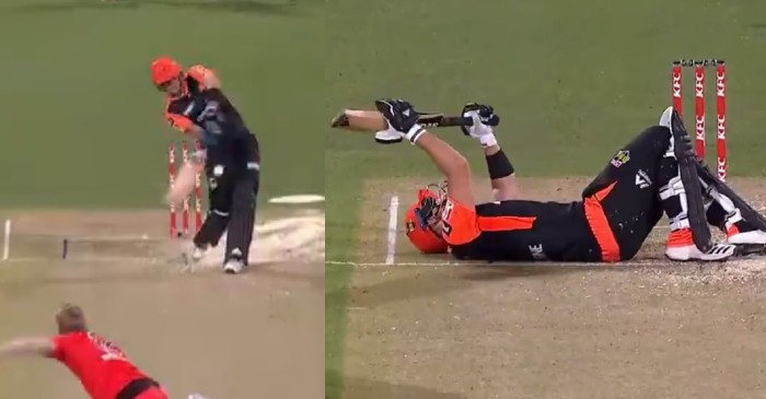 WATCH: Liam Livingstone gets hit on the soft area twice during a BBL clash against Melbourne Renegades