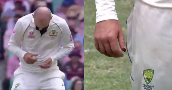 WATCH: Nathan Lyon's thumb left bleeding after a failed caught and bowled attempt in SCG Test