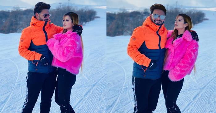 Rishabh Pant and his girlfriend Isha Negi exchange pleasantries during vacation on a snow-clad mountain