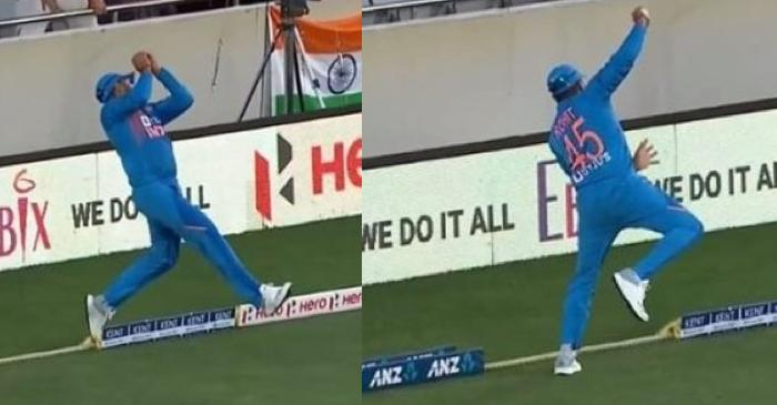 NZ vs IND: Rohit Sharma takes a sensational catch at the boundary to dismiss Martin Guptill