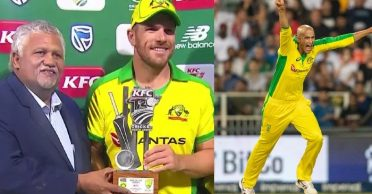 SA vs AUS: Aaron Finch gets surprised after being honored with the 'Man of the Series' award over Ashton Agar