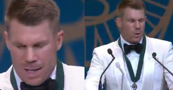 Watch: David Warner delivers an emotional speech while receiving his third Allan Border Medal