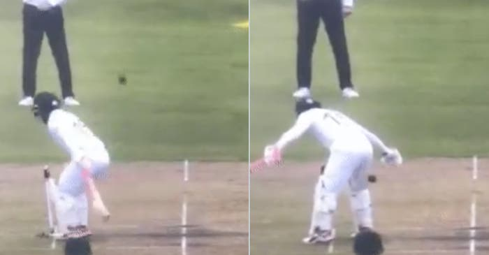 WATCH: Mushfiqur Rahim shields the stumps awkwardly with his rear side