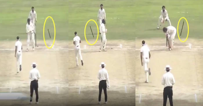 WATCH: Siddharth Kaul send stumps for a walk during his hat-trick against Andhra Pradesh