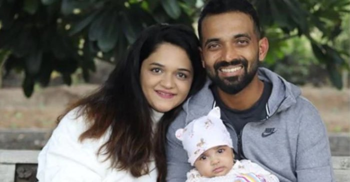 Ajinkya Rahane with his wife and daughter