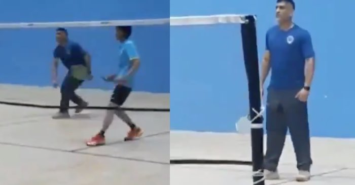 MS Dhoni playing badminton in Ranchi