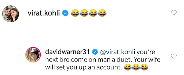 Virat Kohli, David Warner, Instagram