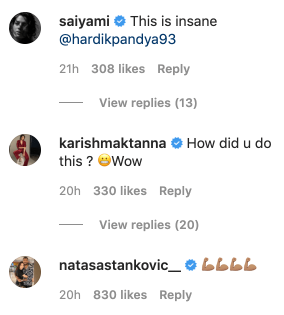 Bollywood actresses comment on Hardik Pandya Instagram