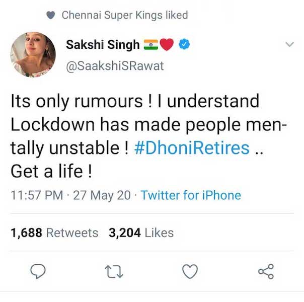 Sakshi tweet on #DhoniRetires
