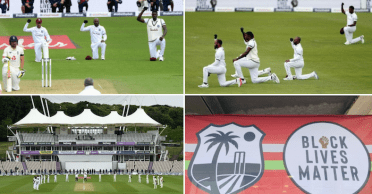 Cricket resumes with England and West Indies players 'one knee down' and 'fist clenched' gesture – WATCH