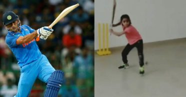 Cricketing world in awe of a seven-year-old girl emulating MS Dhoni's helicopter shot