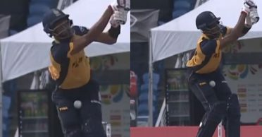 CPL 2020: WATCH – Roston Chase gets into fiddly position while attempting a pull shot