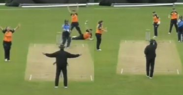 Umpire first signals a 'wide', soon reverses his decision to 'out' in Ireland Women's Super 50 series
