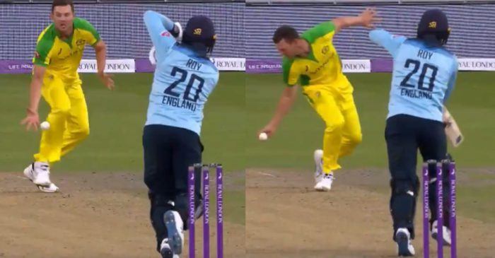ENG vs AUS – WATCH: Josh Hazlewood takes an excellent catch on his follow-through to remove Jason Roy