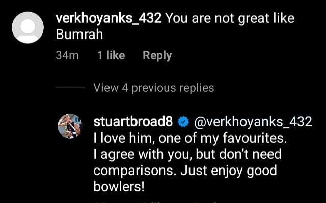 Stuart Broad comment (Instagram)