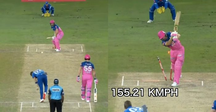 IPL 2020: WATCH – Anrich Nortje cleans up Jos Buttler with a 155.21 kph thunderbolt
