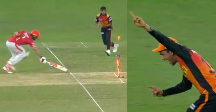 IPL 2020, SRH vs KXIP – WATCH: Priyam Garg hits the bullseye to dismiss Glenn Maxwell