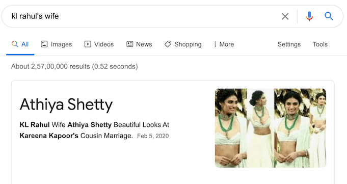 Google goof - KL Rahul wife as Athiya Shetty