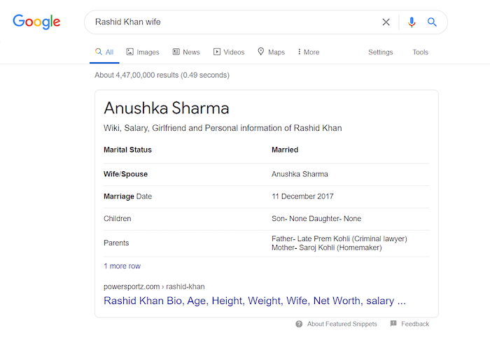 Google search - Rashid Khan wife