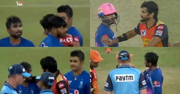 IPL 2020: WATCH – Rahul Tewatia and Khaleel Ahmed get involved in a heated argument before umpires intervene