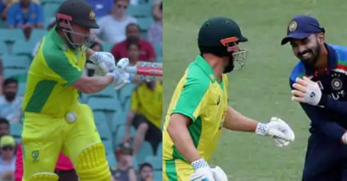 AUS vs IND – WATCH: KL Rahul, Aaron Finch share a light moment after latter gets hit on stomach in second ODI
