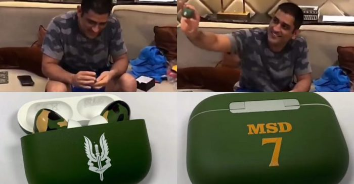 WATCH: MS Dhoni's priceless reaction as he unboxes his new AirPods with 'Balidaan' insignia