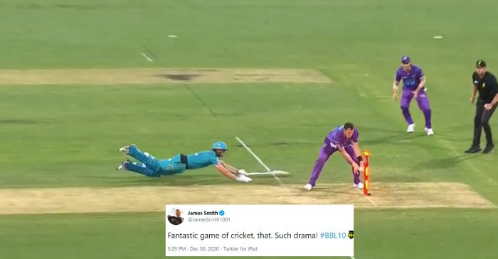 Twitter erupts after Hobart Hurricanes beat Brisbane Heat in the last ball drama at the Gabba