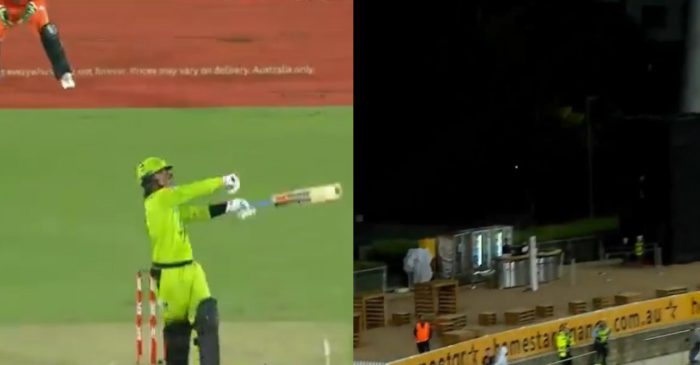 WATCH: Oliver Davies smashes an incredible one-handed six on his BBL debut