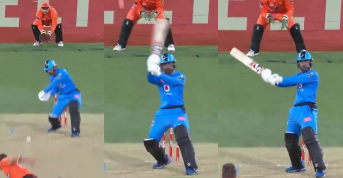 WATCH: Rashid Khan smacks MS Dhoni-style helicopter shot for Adelaide Strikers in BBL 10