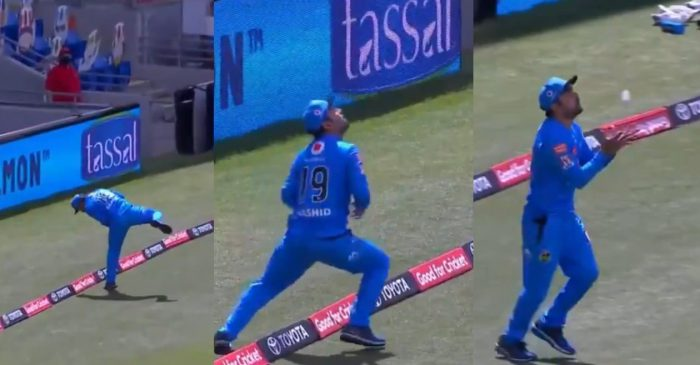 BBL 10: WATCH – Rashid Khan takes an amazing catch at the boundary line to dismiss Colin Ingram