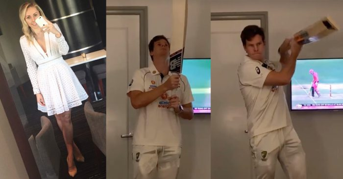 Dani Willis shares a clip of Steve Smith shadow batting inside a hotel room in full Australia jersey