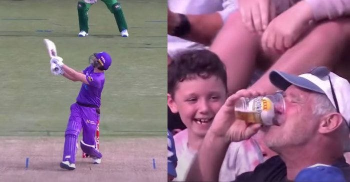 BBL 10 – WATCH: Dawid Malan's six lands into a beer glass; the old man refuses to return ball