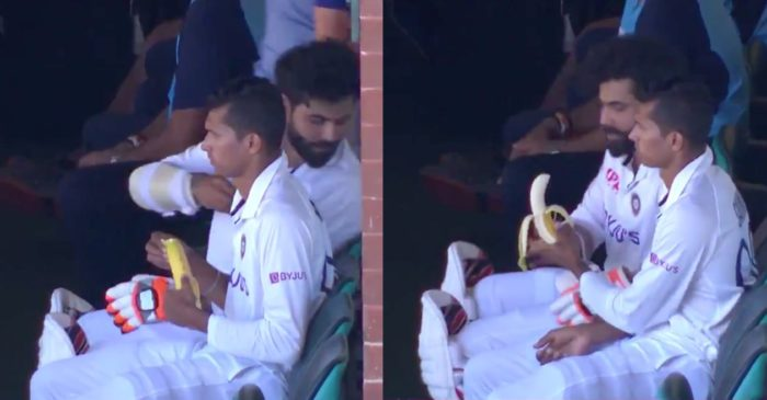AUS vs IND: WATCH: Navdeep Saini peeling the banana for injured Ravindra Jadeja