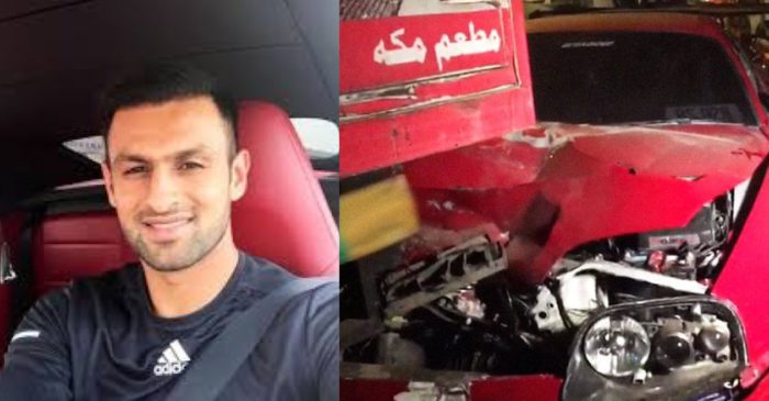 Shoaib Malik crashes his sports car into a truck after leaving the PSL draft in Lahore