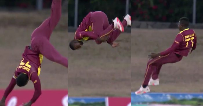 WI vs SL – WATCH: Kevin Sinclair performs a 'somersault' after dismissing Danushka Gunathilaka