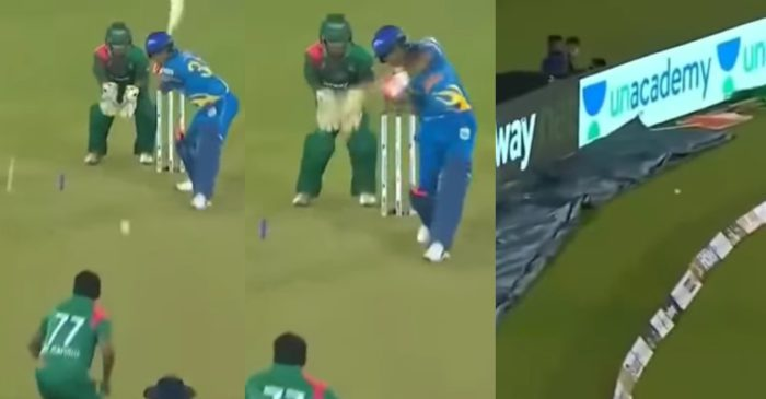 WATCH – Virender Sehwag rolls back the clock with first-ball-four in Road Safety World Series