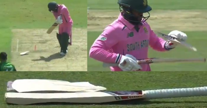 SA vs PAK: WATCH – Faheem Ashraf breaks Temba Bavuma's bat in 2nd ODI