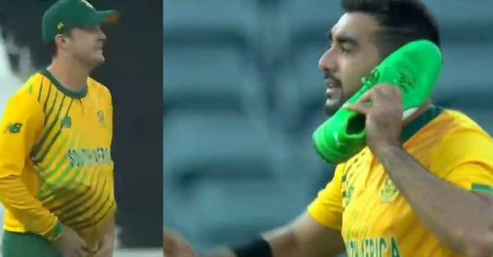 SA vs PAK: WATCH – Tabraiz Shamsi's 'shoe-phone celebration' after dismissing Mohammad Hafeez