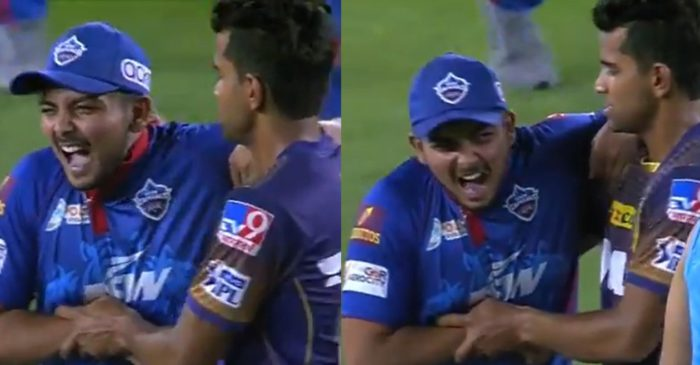 IPL 2021: WATCH – Shivam Mavi teasingly grabs Prithvi Shaw's neck after getting hit for 6 fours in an over