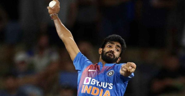 Jasprit Bumrah reacts to a video about his unusual bowling action