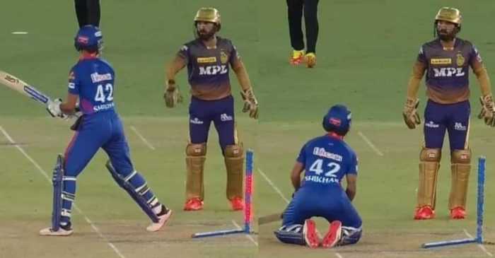 IPL 2021 – WATCH: Shikhar Dhawan hilariously drops to his knees on Dinesh Karthik's stumping appeal