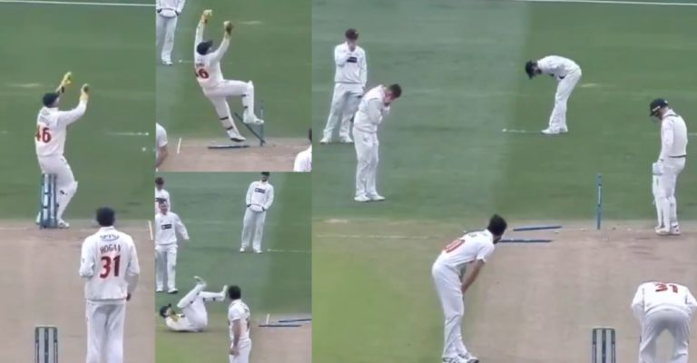 Teammates laugh after Chris Cooke falls on the stumps