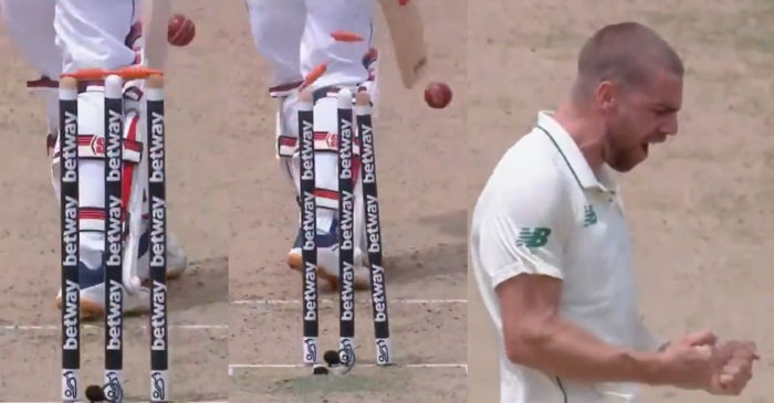 WI vs SA: WATCH – Anrich Nortje cleans up Shai Hope with a ripper in the first Test