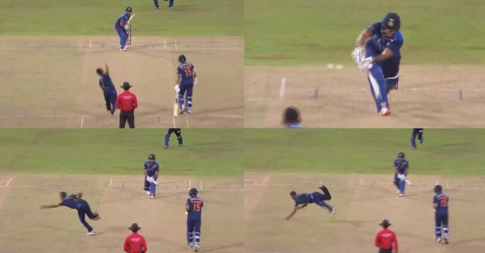 WATCH: Dasun Shanaka takes a one-handed stunner to dismiss Nitish Rana in SL vs IND 3rd T20I