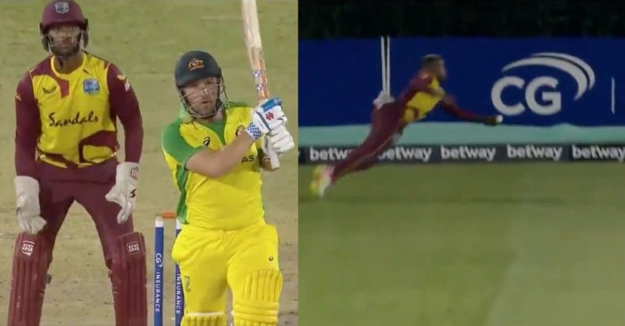 WATCH: Fabian Allen grabs a one-handed stunner at the boundary during West Indies 16-run win over Australia