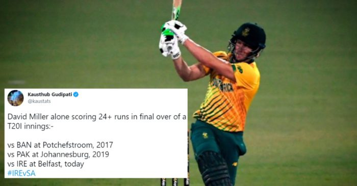 Twitter reactions: Vintage David Miller leads South Africa in series-clinching win over Ireland