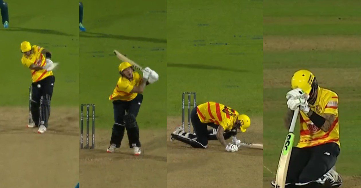 WATCH: Alex Hales gets hit on the box twice while facing Reece Topley in The Hundred