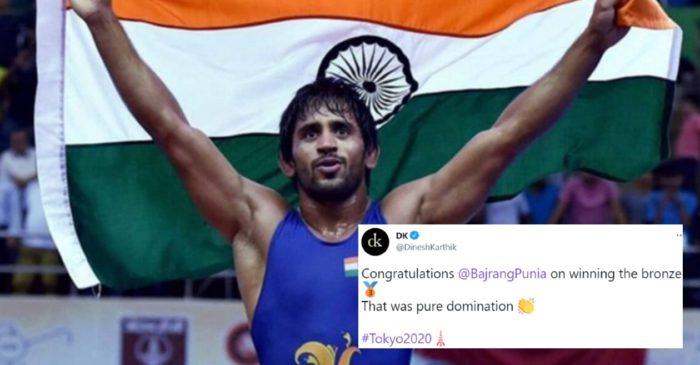 Cricket fraternity lauds Bajrang Punia as he wins Bronze at Tokyo Olympics 2020