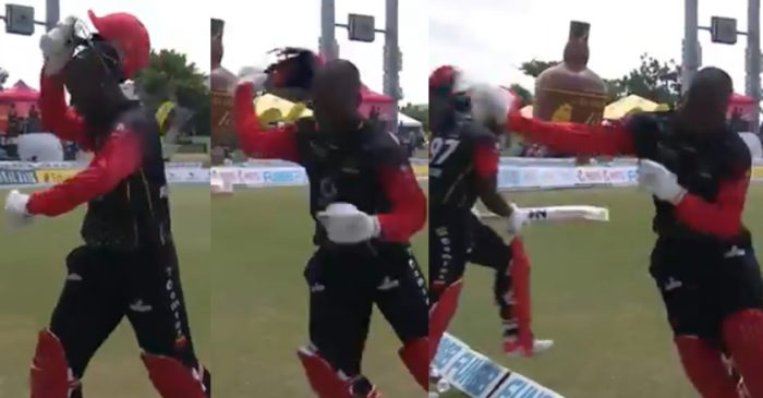 WATCH: Sherfane Rutherford throws away his helmet in frustration after being dismissed run-out in CPL 2021